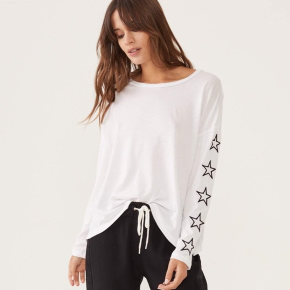 af538fb1885 Monrow Tops | Star Embroidered Slouchy Top | Poshmark